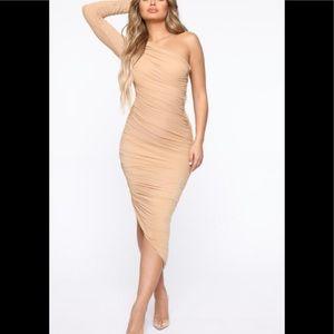 Fashion Nova Eevi Mesh Midi Dress In Nude Size M